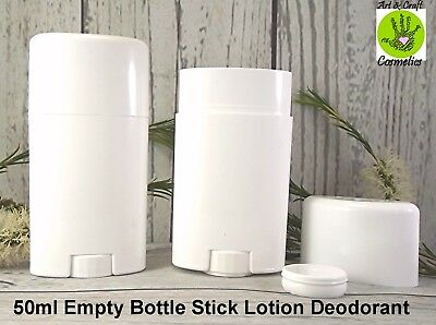 Stick White Bottle Empty Plastic 50ml Refillable Bottle Make Your Own Deodorant