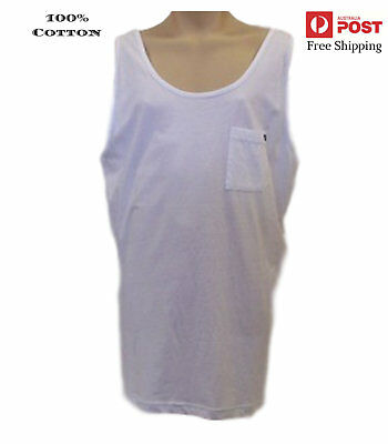 New Mens Authentic Quiksilver Singlet TankTop Tee Surf Shirt  Size XXL White