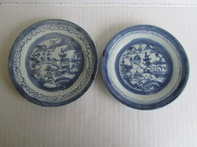 Pair of Antique Chinese Qing Dynasty Porcelain B&W Small Plates