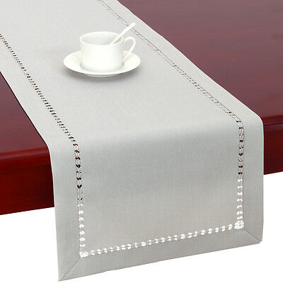 Handmade Light Grey Hemstitched Table Runners And Dresser Scarf For Dining Table