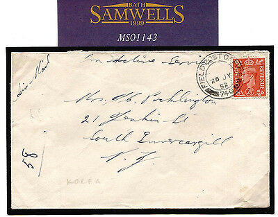 MS1143 1952 GB Used Abroad KOREAN WAR Usage KGVI *FPO 740* Cover New Zealand
