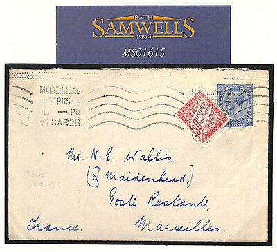 MS1615 1928 GB SCOUTMASTER Maidenhead France Dues *Poste Restante Fee* SCOUTING
