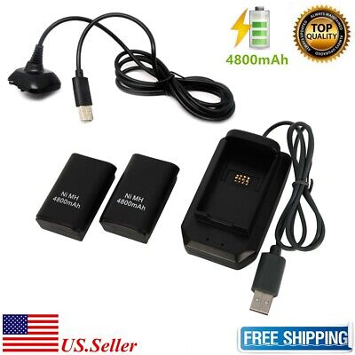 2X 4800mAh Rechargeable Battery For XBOX360 Wireless Controller & Charger Dock
