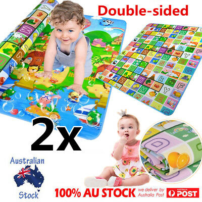2x Double Sides Baby Kids Play Mat Floor Rug Picnic Cushion Crawling Mat 2mx1.8m