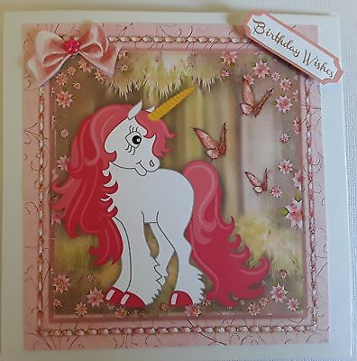 Pink unicorn with butterflies ~Birthday~ Handmade card 3D~