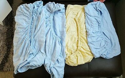 4x Cot Bed Blue And Yellow Fitted Sheets
