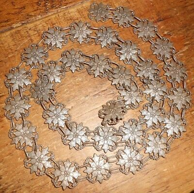 Art Nouveau SOLID SILVER Chain Belt with Repousse Flowers & Soldered Links c1900