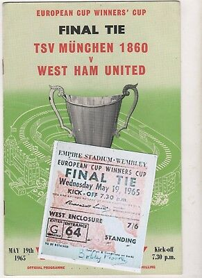 1965 ECWC Final West Ham United v TSV Munchen 1860 programme/ticket/VGC