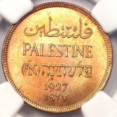 1927 Palestine Mil (1M) - NGC MS64 RB - Rare BU UNC Certified Coin!