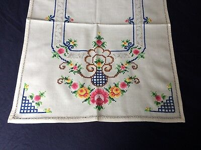 Super Vintage Cream Cotton Hand Embroidered & Drawn Thread Work Table Runner VGC