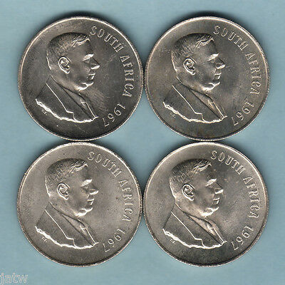 South Africa - Silver 1967 1 Rand x 4 Coins. English legend..  BU
