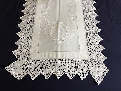 Vintage Antique White Cotton Huge Table Runner Scarf Crochet Edging & Embroidery