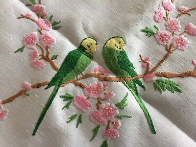 Awesome Large Vintage Hand Embroidered Budgerigar Cream Irish Linen Tablecloth
