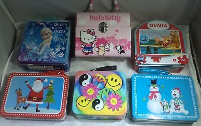 Lot of 6 Assorted Metal Lunch boxes - Mini Tin Lunch Boxes