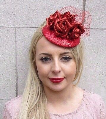 Red Glitter Net Rose Flower Fascinator Hat Races Wedding Hair Christmas 3994