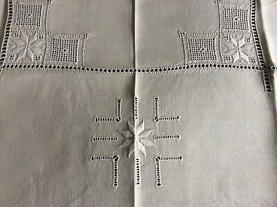 Superb Vintage Hand Embroidered Cypriot Lefkara Work Cream Linen Tablecloth A