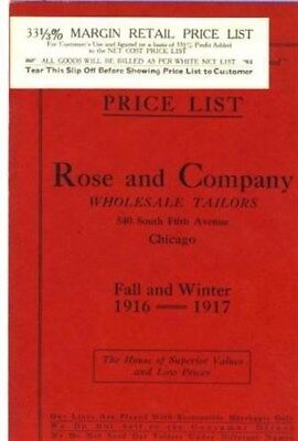 Rose & Co. Wholesale Tailors Chicago Illinois Fall Winter 1916-1917 Price Lists