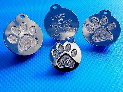 Pet ID Tag Quality Dog & Cat Tags Highly Polished Chrome- Gold ENGRAVING OPTIONS