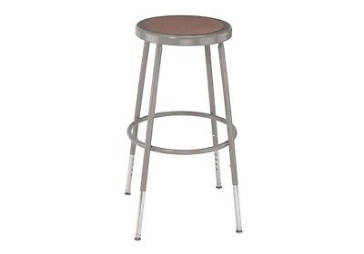 "Sturdy Metal Foot Stool Adjustable Counter Top Garage Shop Art 14"" Round Seat"