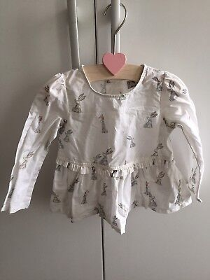 Baby Girls Off White Cream Blouse Shirt Pastel Bunny Print By Next 12-18 Mths