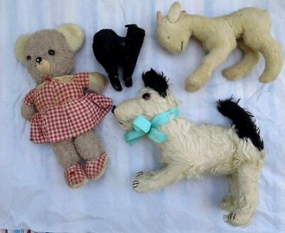 Original-Antique-Vintage-1930-039-s- Four Jointed-Mohair-Stuffed-animals