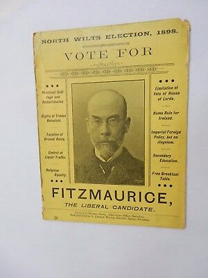North Wilts Election 1898 Fitzmaurice   Election Agent Swindon 11 X15 Cm Liberal