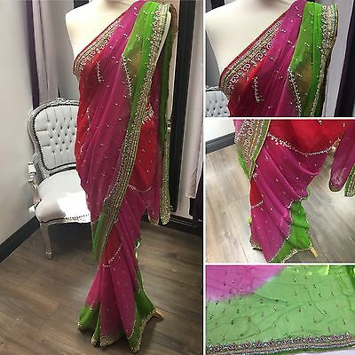 Uk Based Indian Designer Stone Work Saree Sari Bollywood Party Wedding Wear  Jk2