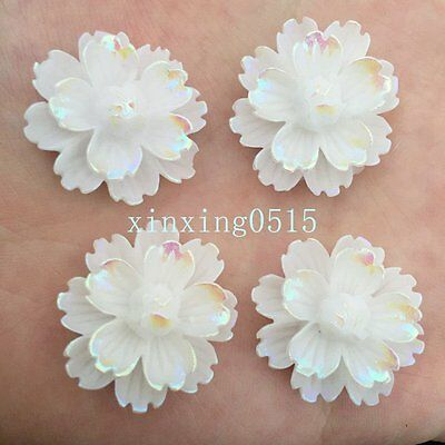 NEW DIY 6pcs 25mm AB Resin 3d flower Flatback Rhinestone Wedding buttons crafts
