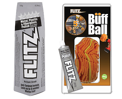 "Flitz 5.29oz Metal/Plastic/Fiberglass Polish Paste & 5"" Buff Ball + Free Tube"