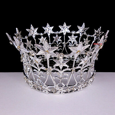 7cm High Silver Stars Crystal Wedding Bridal Party Pageant Prom Tiara Crown