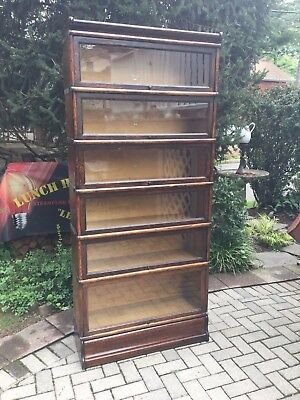 Antique Macey 6 Stack Barrister Bookcase Tiger Oak/Wavy glass