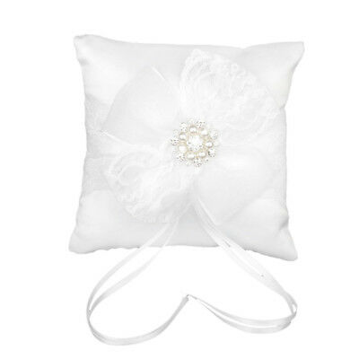 Lace Flower Ornament Ring Cushion 20 x 20cm for Wedding - White S8R1