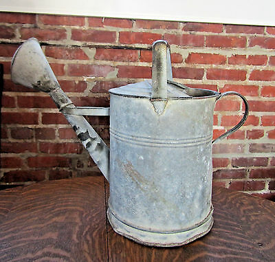 "VINTAGE ANTIQUE WATERING CAN Extra LARGE Heavy Galvanized Primitive 16.5""TX 22""W"