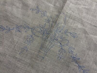 Vintage Irish Linen Floral Transfer Printed Tray Cloth Centrepiece To Embroider