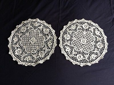 Pair Vintage White Italian Point De Venise Lace Round Table Centrepieces Doilies