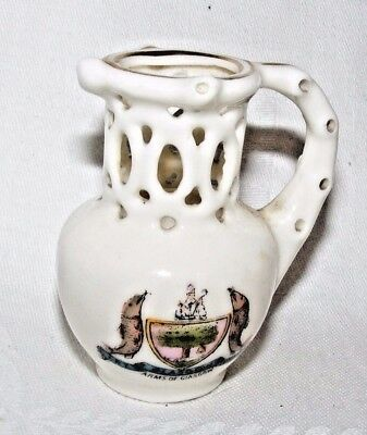 Vintage Crested China Goss? Puzzle Jug Glasgow Coat Of Arms Gold Mark To Base