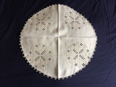 Super Vintage Hand Embroidered Cypriot Lefkara Work Beige Linen Small Tablecloth