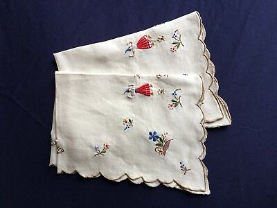 Pair Vintage Madeira Work Hand Embroidered Beige Irish Linen Oblong Tray Cloths