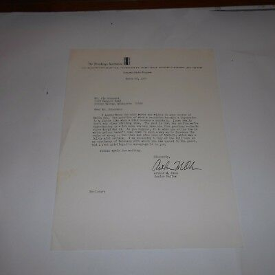 Art Okun was an American economist  Hand Signed 1975 Letter