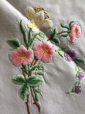 Pretty Vintage Floral Embroidered Small Cream Irish Linen Old Bleach Tablecloth