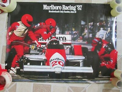 Marlboro Racing '87 Meadowlands Indy 1987 Auto Cigarettes Advertising Poster