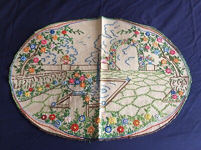 Vintage Beige Irish Linen Cottage Garden Hand Embroidered Tray Cloth Centrepiece