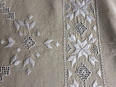 Superb Huge Vintage Hand Embroidered Cypriot Lefkara Work Beige Linen Tablecloth