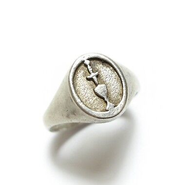 Stunning Antique Or Vintage Unusual Silver Chalice Ring Band Wicca Witch (A19)