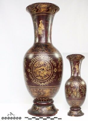 Early 1800's Chinese Canton Gilt & Red Lacquer Wood Vase