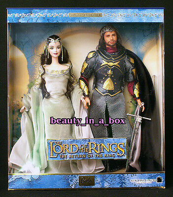 Lord of the Rings Barbie Ken Doll Arwen Aragorn Return King Giftset NRFB EXC Box
