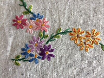 Pretty Vintage Cream Irish Linen Hand Embroidered Tray Cloth / Table Centrepiece