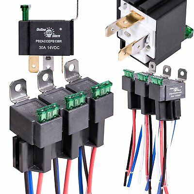 Fuse Relay Box Switch Harness Set Automotive Relays Hot Wires 12V Dc 4-Pin
