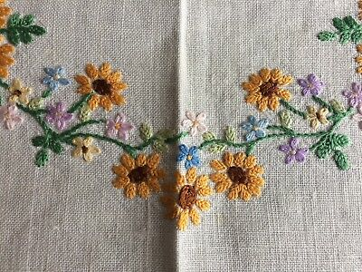 Lovely Vintage Cream Irish Linen Hand Embroidered Tray Cloth / Table Centrepiece
