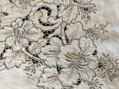 Superb Vintage Ecru Madeira Work Hand Embroidered Cream Linen Large Tablecloth